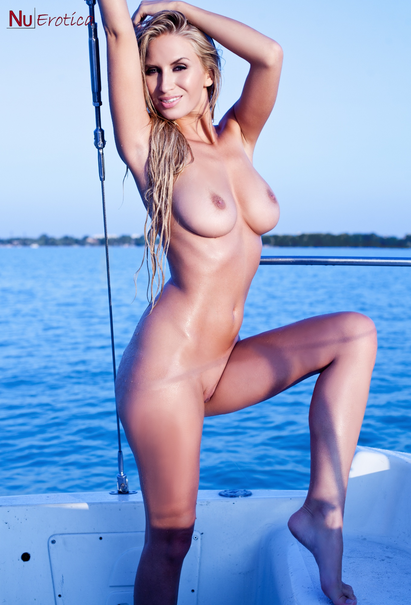 Phrase and naked babe in boat